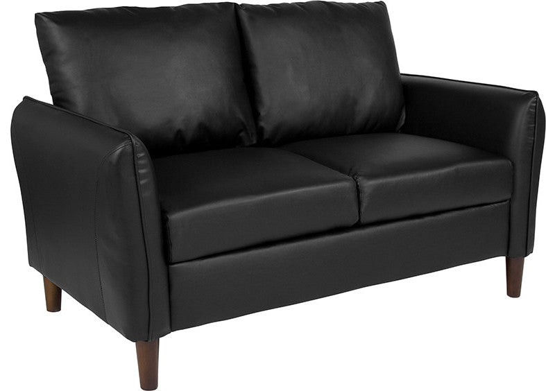 Milton Park Upholstered Plush Pillow Back Loveseat in Black LeatherSoft