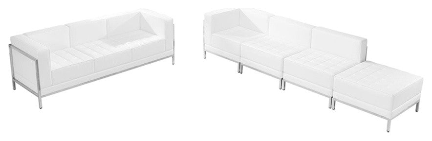 HERCULES Imagination Series Melrose White LeatherSoft Sofa & Lounge Chair Set, 5 Pieces