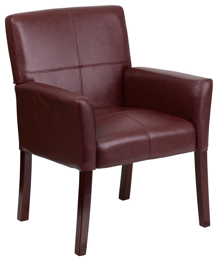 Burgundy LeatherSoft Executive Side Reception Chair with Mahogany Legs