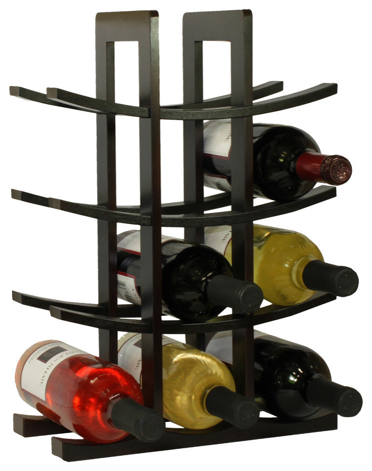12-Bottle Bamboo Wine Rack, Dark Espresso - Pot Racks Plus