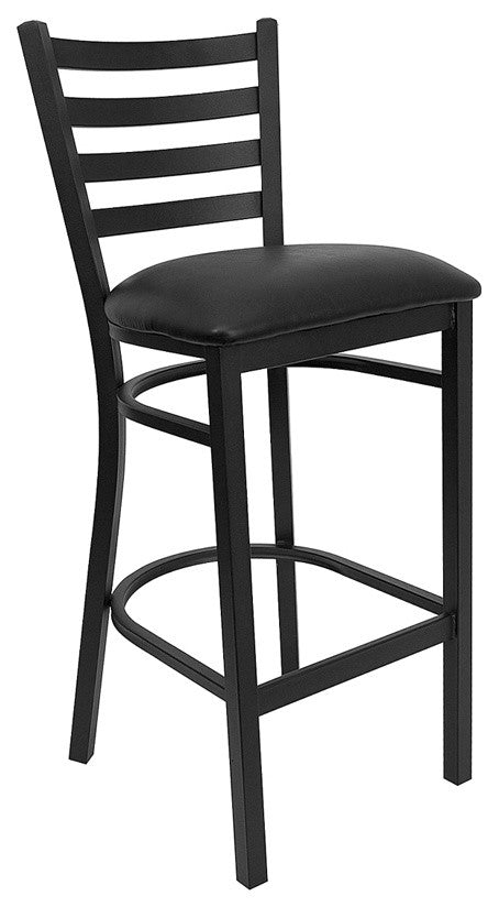 HERCULES Series Black Ladder Back Metal Restaurant Barstool - Black Vinyl Seat
