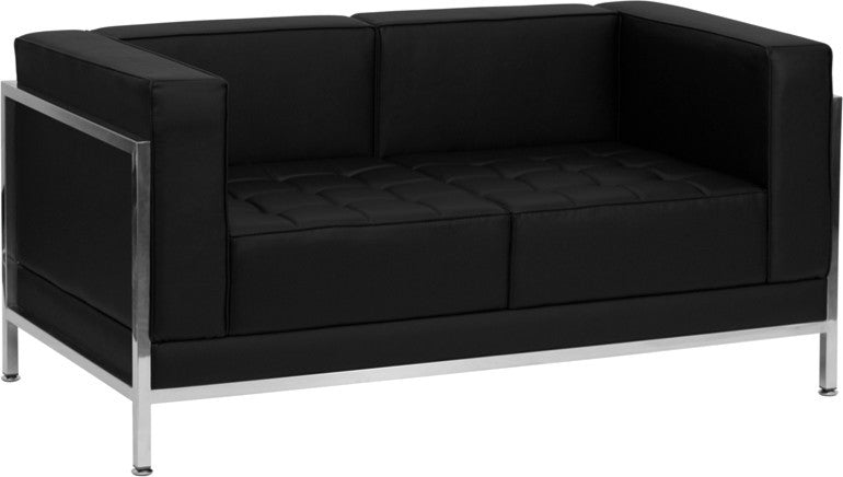 HERCULES Imagination Series Contemporary Black LeatherSoft Loveseat with Encasing Frame