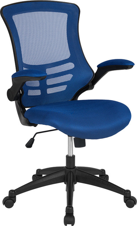 Mid-Back Blue Mesh Swivel Ergonomic Task Office Chair with Flip-Up Arms