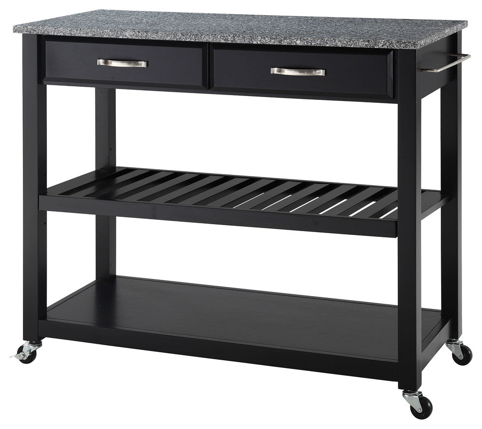 Solid Granite Top Kitchen Cart/Island With Optional Stool Storage, Black Finis - Pot Racks Plus