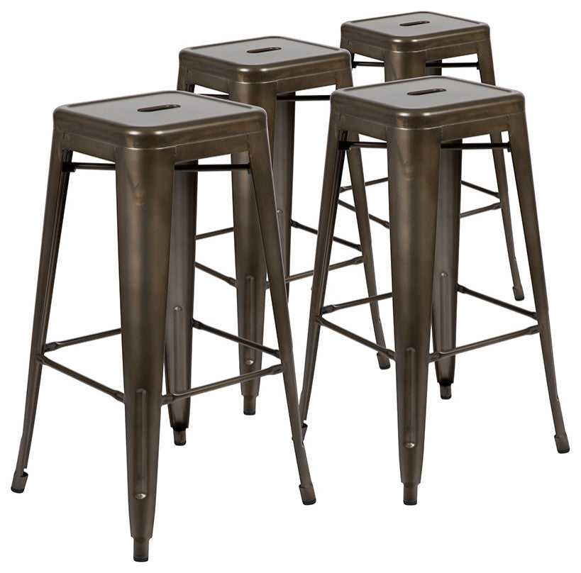 "Flash Furniture  30"" High Metal Indoor Bar Stool in Gun Metal Gray - Stackable Set of 4 - Pot Racks Plus"