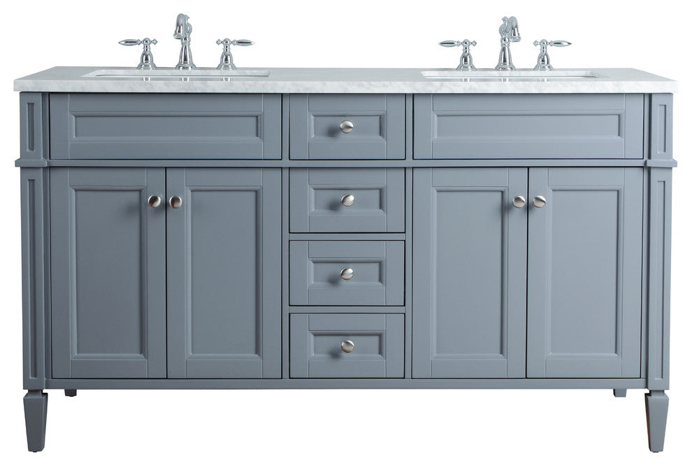 "Anastasia French 60"" Gray Double Sink Bathroom Vanity - Pot Racks Plus"