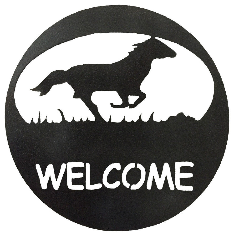 Horse Welcome Circle-Hammered Black - Pot Racks Plus