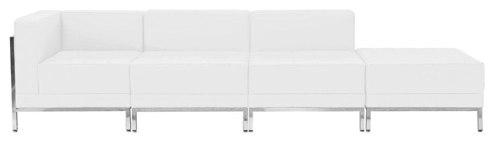 HERCULES Imagination Series Melrose White LeatherSoft 4 Piece Chair & Ottoman Set