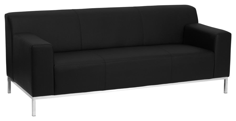 HERCULES Definity Series Contemporary Black LeatherSoft Sofa with Stainless Steel Frame