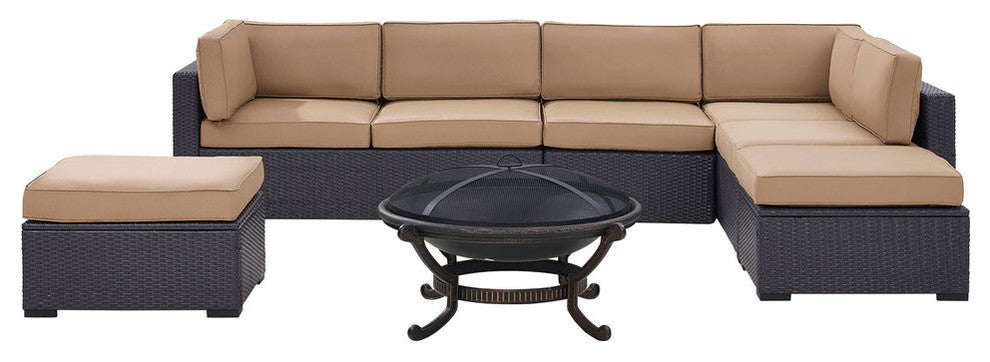 Biscayne Wicker Set 2 Loveseats, 1 Armless Chair, 2 Ottomans, Firepit, Mocha - Pot Racks Plus