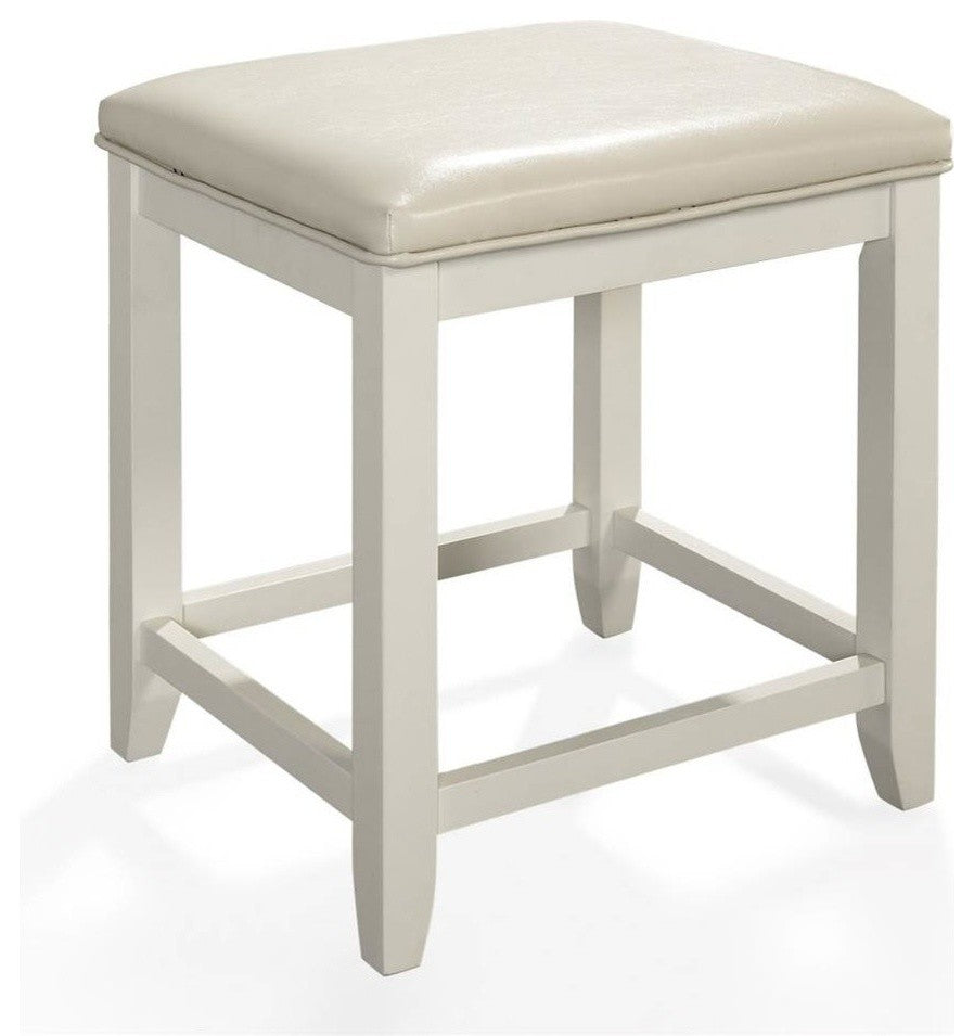 Vista Vanity Stool, White Finish - Pot Racks Plus