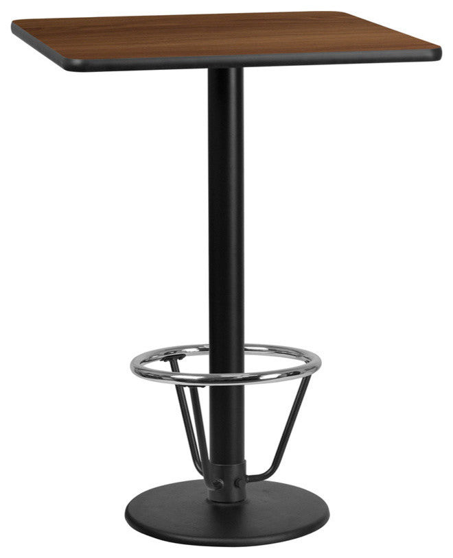 30'' Square Walnut Laminate Table Top with 18'' Round Bar Height Table Base and Foot Ring