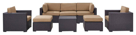 Biscayne Wicker 1 Loveseat, 3 Chairs, 1 Coffee Table, 2 Ottomans, Mocha - Pot Racks Plus