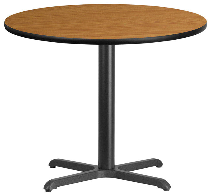 36'' Round Natural Laminate Table Top with 30'' x 30'' Table Height Base