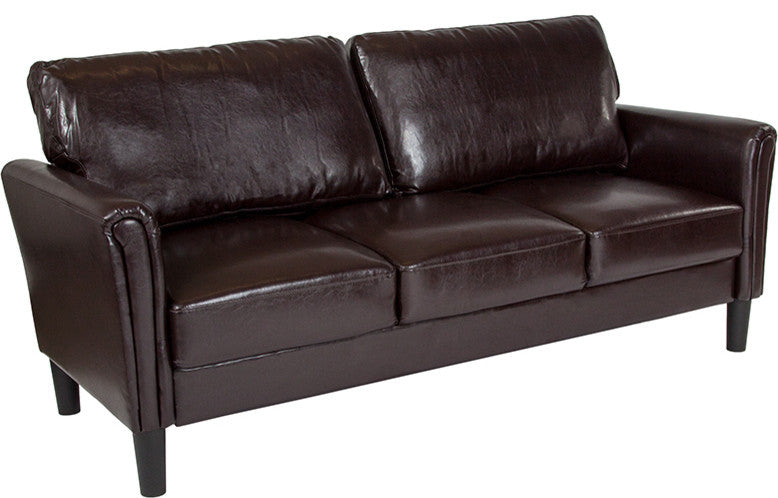 Bari Upholstered Sofa in Brown LeatherSoft