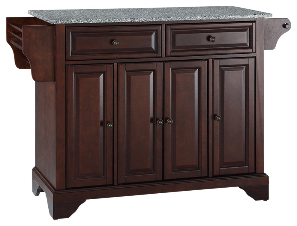 LaFayette Solid Granite Top Kitchen Island, Vintage Mahogany Finish - Pot Racks Plus