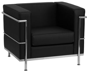 HERCULES Regal Series Contemporary Black LeatherSoft Chair with Encasing Frame