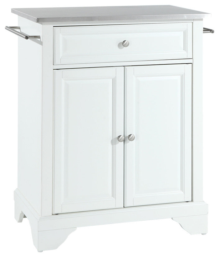 LaFayette Stainless Steel Top Portable Kitchen Island, White Finish - Pot Racks Plus