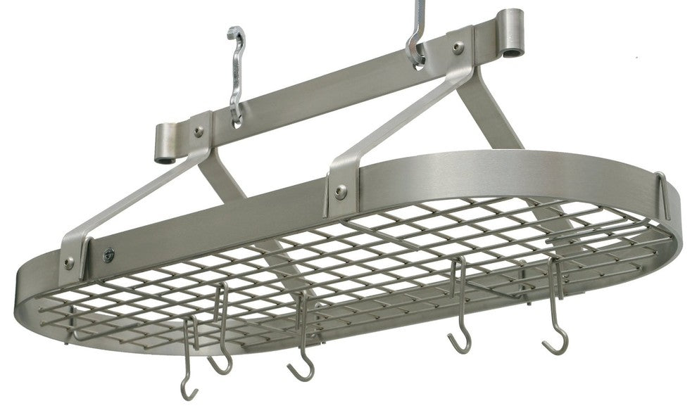 Premier 3 foot Oval Pot Rack W, Grid, Stainless Steel - Pot Racks Plus