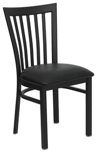 HERCULES Series Black School House Back Metal Restaurant Chair - Black Vinyl Seat
