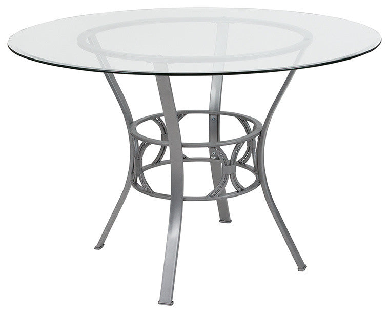 Flash Furniture Carlisle 45'' Round Glass Dining Table with Silver Metal Frame - Pot Racks Plus