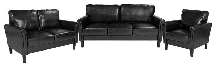 Bari 3 Piece Upholstered Set in Black LeatherSoft