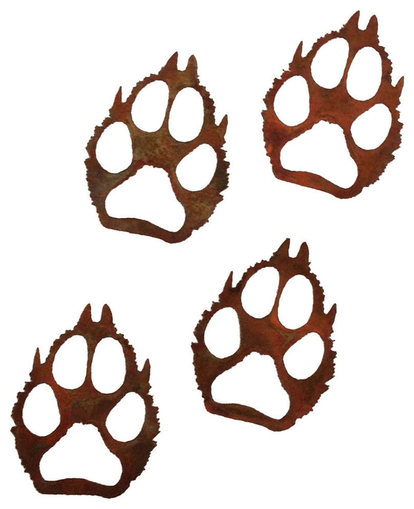 Wolf Paw Prints-Rust Patina - Pot Racks Plus