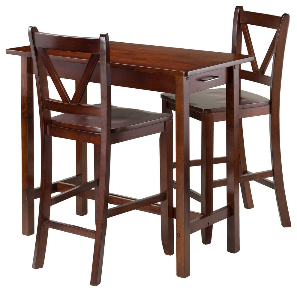 3-Piece Kitchen Island Table With 2 V-Back Stool - Pot Racks Plus