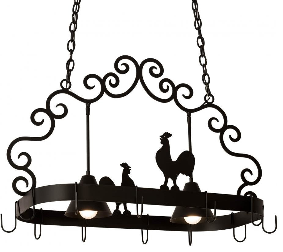 "32"" Long Poulet 2 Light Pot Rack - Pot Racks Plus"