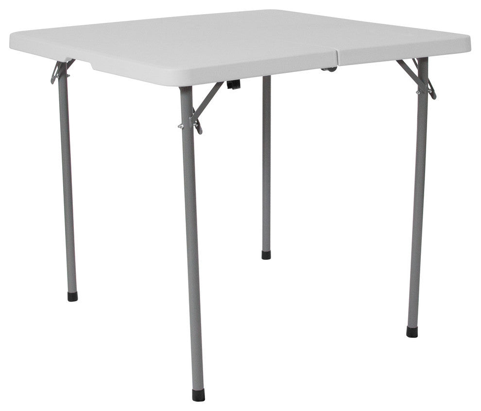 3-Foot Square Bi-Fold Granite White Plastic Folding Table with Carrying Handle