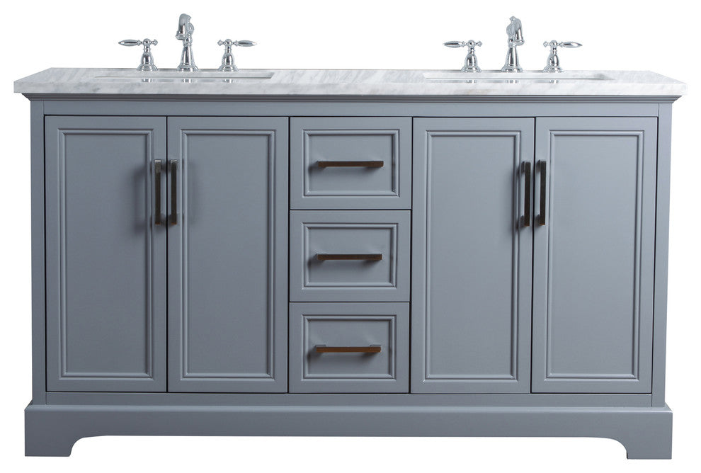 "Ariane 60"" Slate Gray Double Vanity Cabinet Dual Bathroom Sinks - Pot Racks Plus"