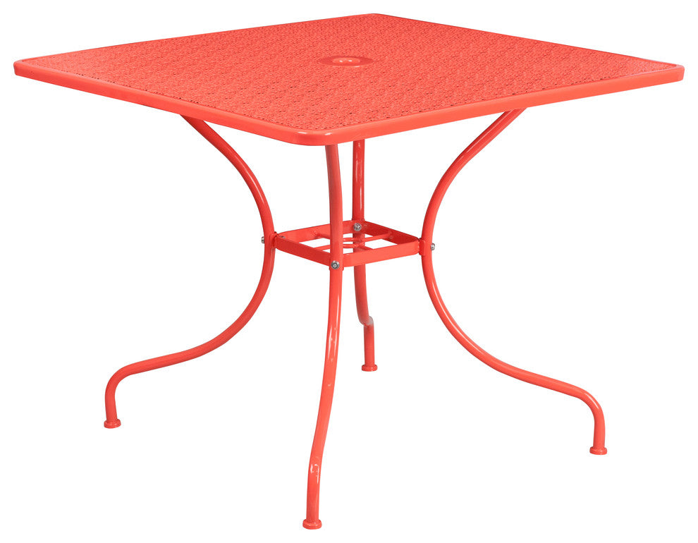 "Commercial Grade 35.5"" Square Coral Indoor-Outdoor Steel Patio Table"