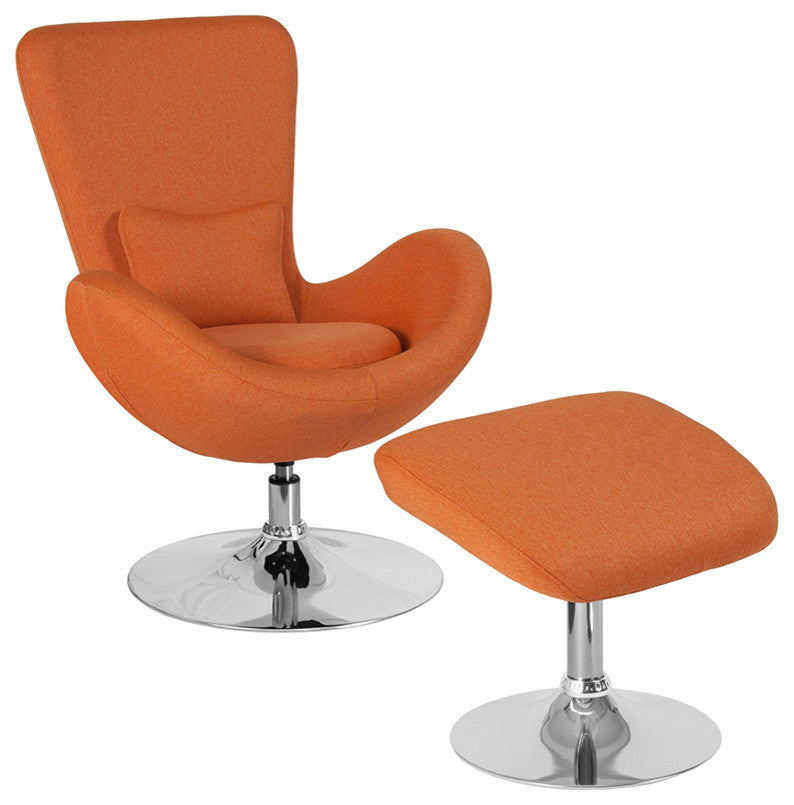 Flash Furniture   Egg Series Orange Fabric Side Chair with Ottoman - Pot Racks Plus