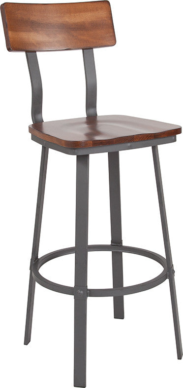 Flint Series Rustic Walnut Restaurant Barstool with Wood Seat & Back and Gray Powder Coat Frame