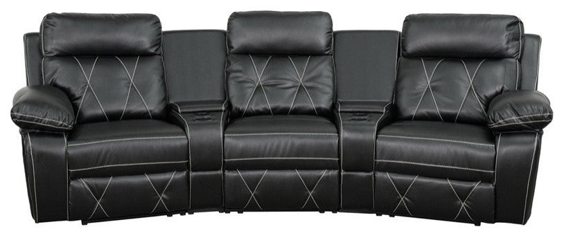 Flash Furniture   Reel Comfort Series 3-Seat Reclining Black LeatherSoft Theater Seating Unit with Curved Cup Holders - Pot Racks Plus