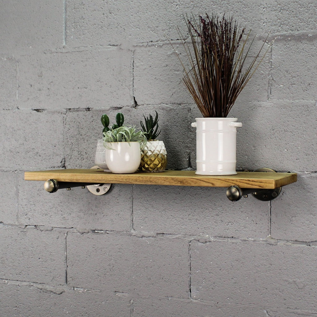 "Somerville Farmhouse Industrial 30"" Wide Decorative Wall Shelf, Brushed Brass Gray Steel Combo with Natural Stained Wood - Pot Racks Plus"