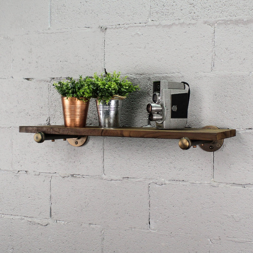 "Somerville Farmhouse Industrial 30"" Wide Decorative Wall Shelf, Rustic Bronze Combo with Light Brown Stained Wood - Pot Racks Plus"