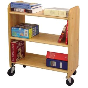 Library Book Truck, Natural Birch - Pot Racks Plus