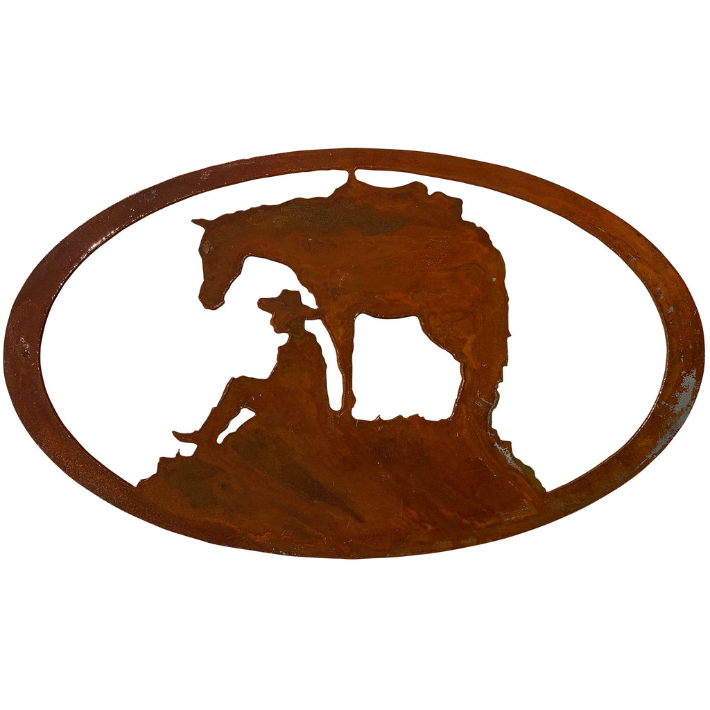 Horse & Cowboy Oval-Rust Patina - Pot Racks Plus
