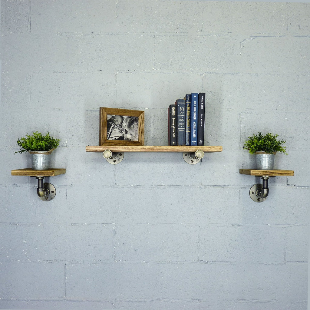"Cape Coral Farmhouse Industrial 30"" & 8"" Wide 3-Piece Multi-Purpose Wall Shelf , Brushed Brass Gray Steel Combo with Natural Stained Wood - Pot Racks Plus"