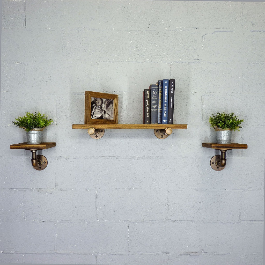 "Cape Coral Farmhouse Industrial Set 18"" & 8"" Wide 3-Piece Multi-Purpose Wall Shelf , Rustic Bronze Combo with Light Brown Stained Wood - Pot Racks Plus"