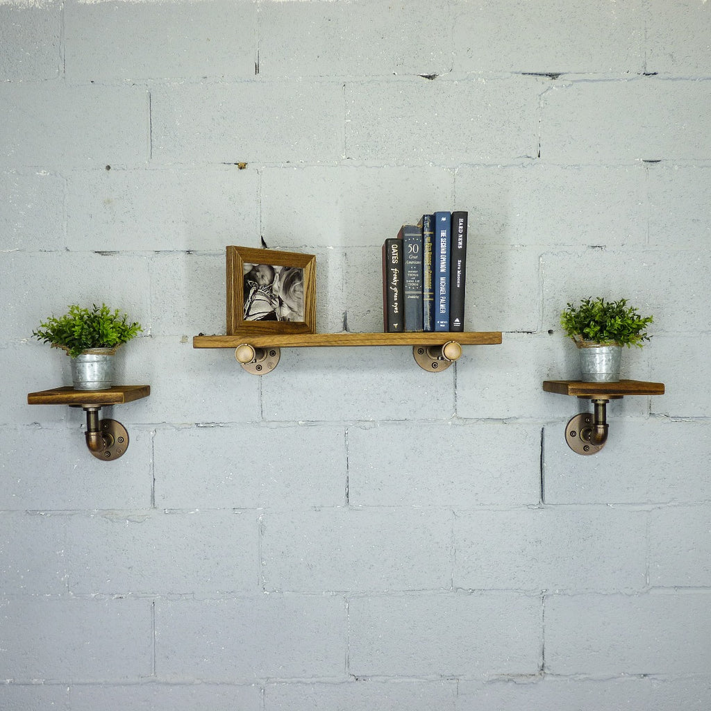 "Cape Coral Farmhouse Industrial Set 24"" & 8"" Wide 3-Piece Multi-Purpose Wall Shelf , Rustic Bronze Combo with Light Brown Stained Wood - Pot Racks Plus"