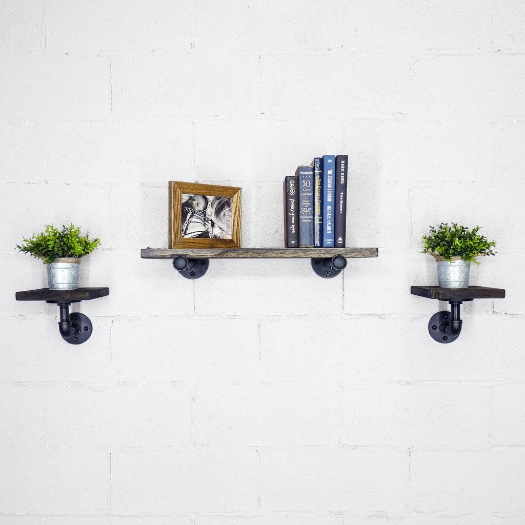 "Cape Coral Farmhouse Industrial Set 18"" & 8"" Wide 3-Piece Multi-Purpose Wall Shelf , Black Steel Combo with Dark Brown Stained Wood - Pot Racks Plus"