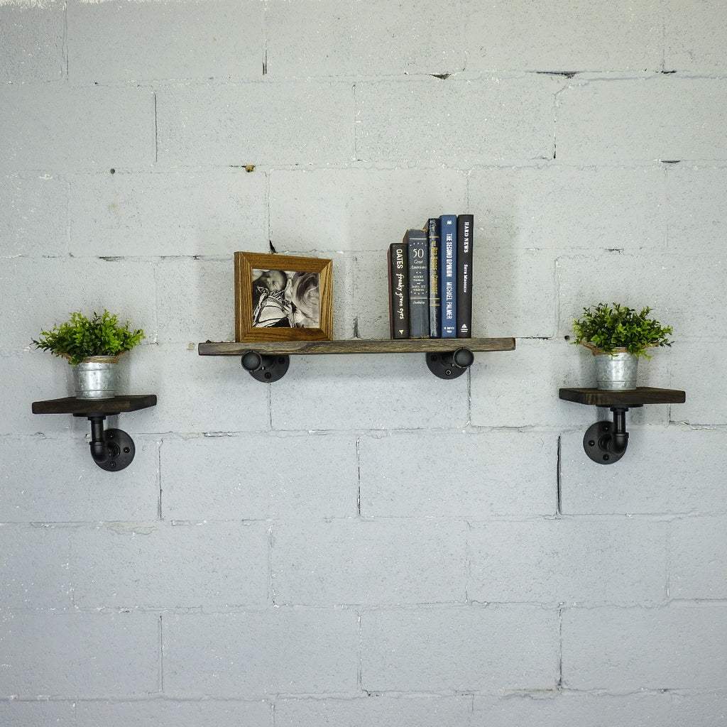 "Cape Coral Farmhouse Industrial Set 24"" & 8"" Wide 3-Piece Multi-Purpose Wall Shelf , Black Steel Combo with Dark Brown Stained Wood - Pot Racks Plus"