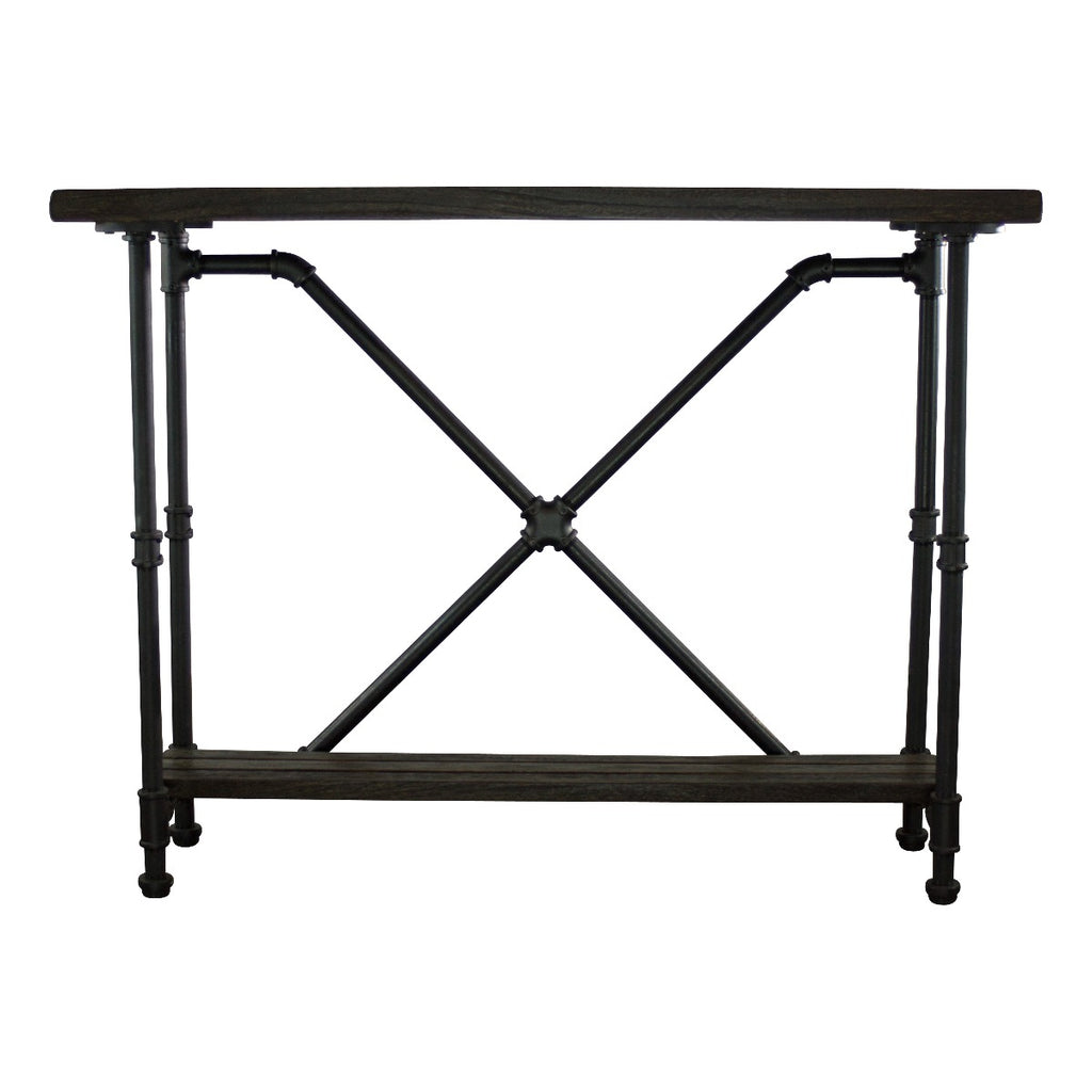 Furniture Pipeline Houston Industrial Chic Console Table, Black Steel Combo with Dark Brown Stained Wood - Pot Racks Plus