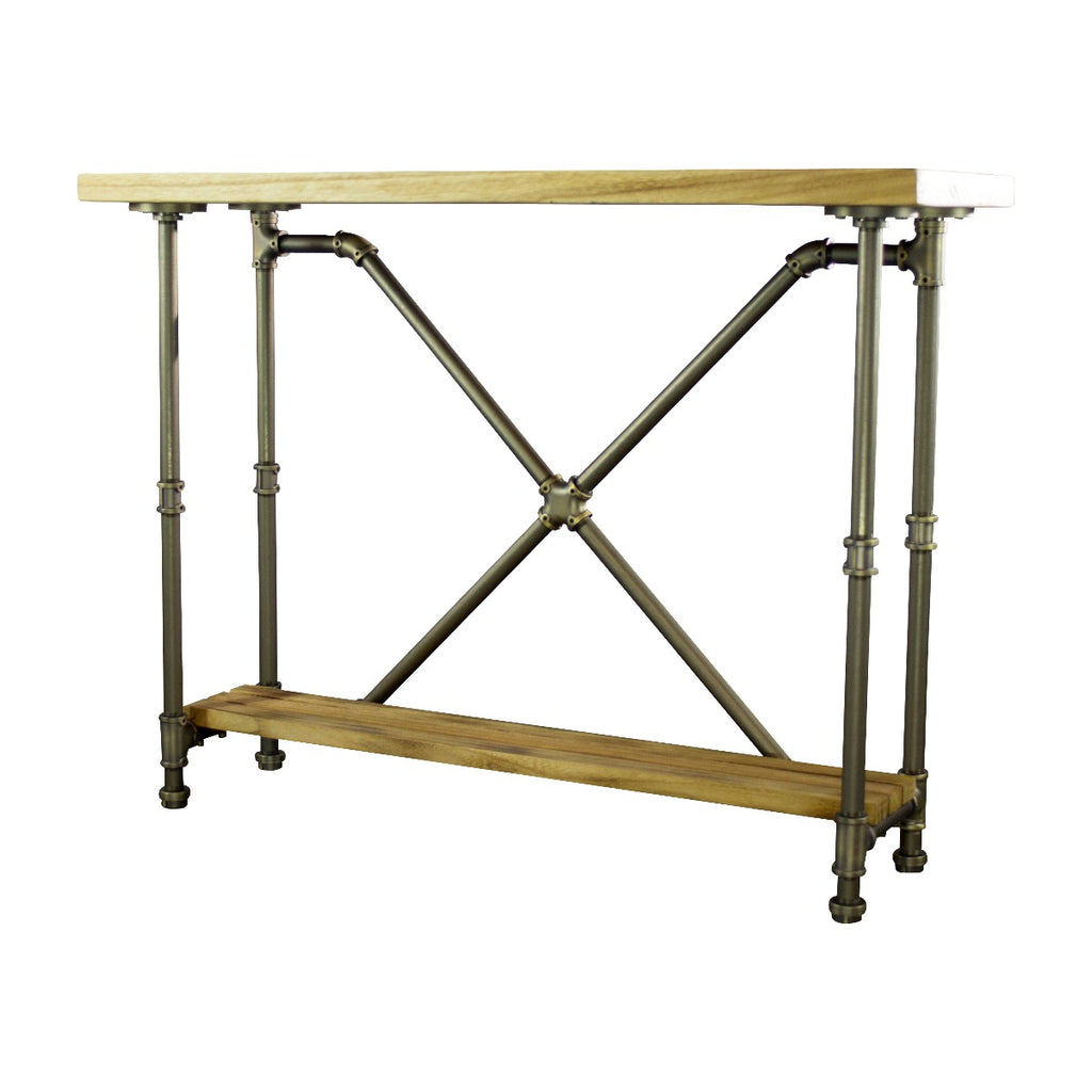 Furniture Pipeline Houston Industrial Chic Console Table, Brushed Brass Gray Steel Combo with Natural Stained Wood - Pot Racks Plus