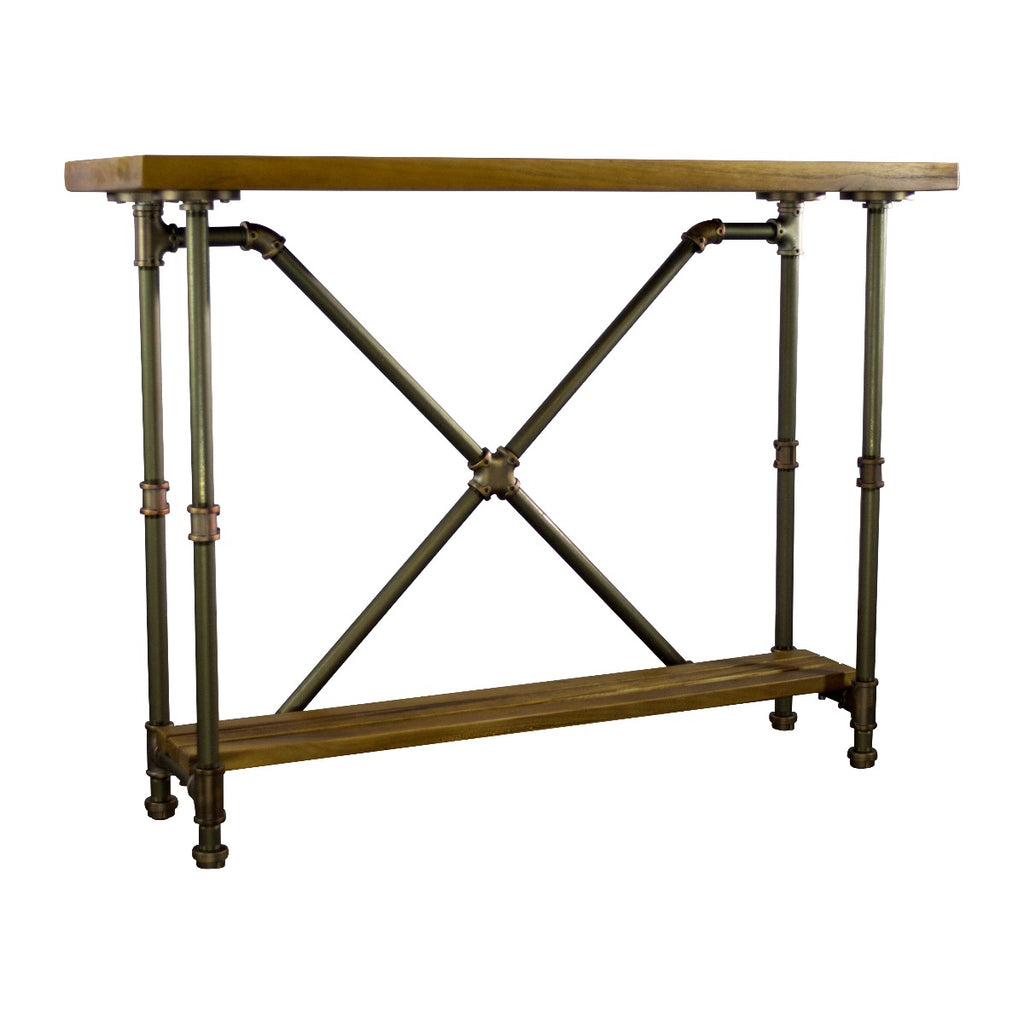 Furniture Pipeline Houston Industrial Chic Console Table, Rustic Bronze Combo with Light Brown Stained Wood - Pot Racks Plus