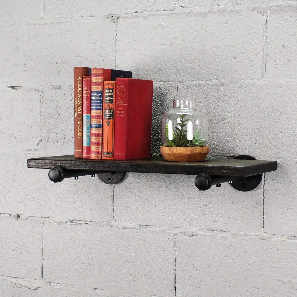 "Somerville Farmhouse Industrial 24"" Wide Decorative Wall Shelf, Black Steel Combo with Dark Brown Stained Wood - Pot Racks Plus"