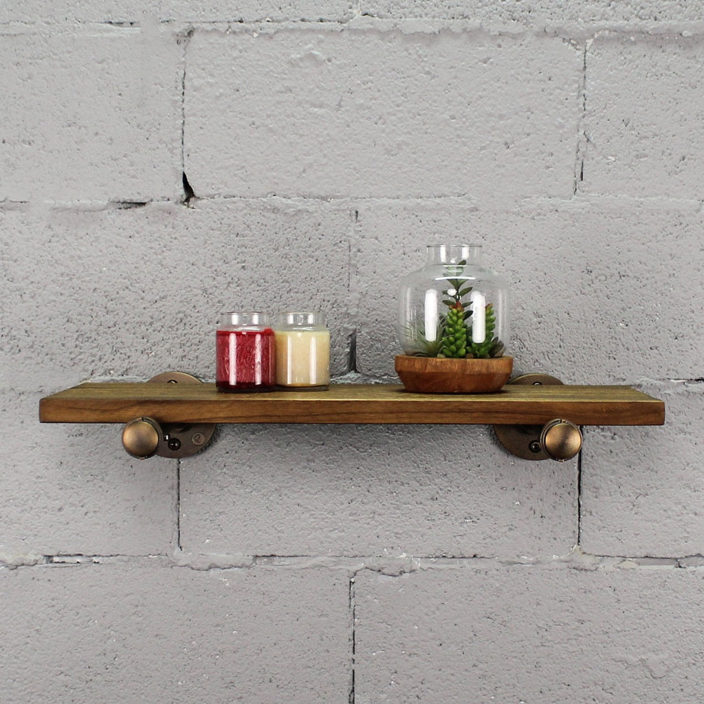 "Furniture Pipeline Somerville Farmhouse Industrial 24"" Wide Decorative Wall Shelf, Rustic Bronze Combo with Light Brown Stained Wood - Pot Racks Plus"