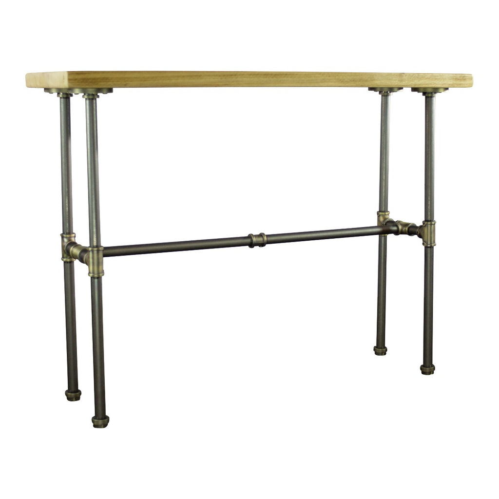 Corvallis Industrial Chic Console Table, Brushed Brass Gray Steel Combo with Natural Stained Wood - Pot Racks Plus
